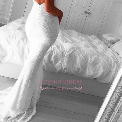 Modest Mermaid Backless Sleeveless V-neck White Lace Front-Split Prom Dress BA7175_5