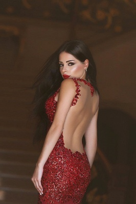 Red Sexy Crystal Mermaid Evening Dress Vintage Spaghetti Strap Tulle Long Formal Occasion Dress_5