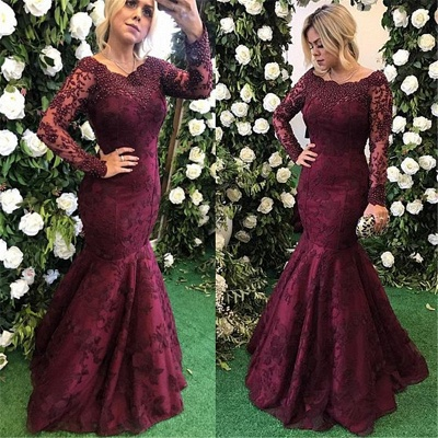 Long Sleeve Burgundy Prom Dresses  Mermaid Beads Lace Popular Evening Gown BA7388_3