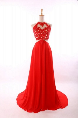 Red A-Line Halter Chiffon Party Dress Halter Lace Open Back Prom Dresses CE0126_4