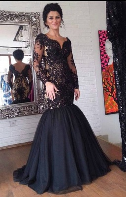 Black Mermaid V-Neck Evening Dresses | Long Sleeves Appliques Party Dresses_1