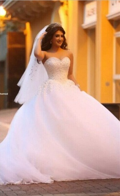 Pure White Sweetheart Princess Ball Gown Wedding Dress Tulle Beading Cute Popular Bridal Dress_1