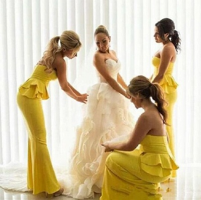 Mermaid Bright Yellow  Wedding Party Dress Ruffles Long Peplum Bridesmaid Dresses_4