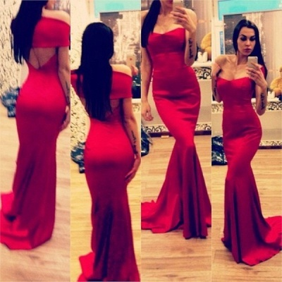 New Arrival Prom Dresses Off The Shoulder Open Back Red Mermaid Bridesmaid Dress_3