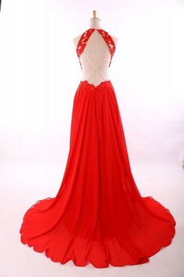 Red A-Line Halter Chiffon Party Dress Halter Lace Open Back Prom Dresses CE0126_5
