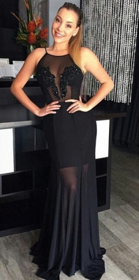 New Arrival Black Lace Long Evening Dress Sheath Chiffon Backless Sequined Special Occassion Dresses_2