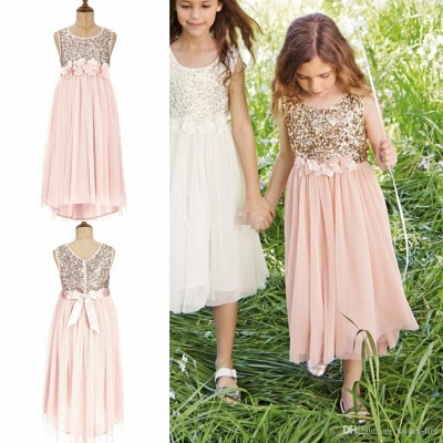 Lovely  Blush Flower Girl Dresses Sequins Bowknot  Girls Pageant Dress_3