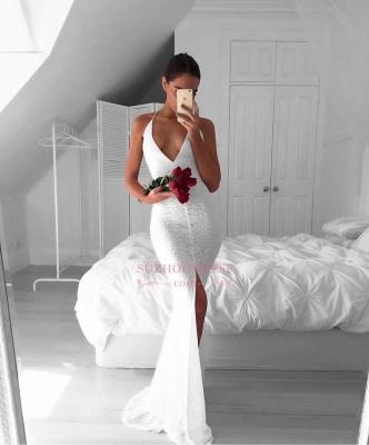 Modest Mermaid Backless Sleeveless V-neck White Lace Front-Split Prom Dress BA7175_3