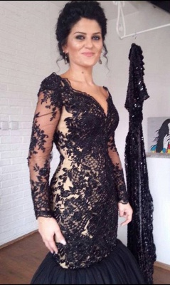 Black Mermaid V-Neck Evening Dresses | Long Sleeves Appliques Party Dresses_3