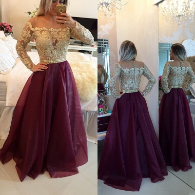 A-Line Long Sleeve Burgundy Prom Dress New Arrival Lace Floor Length Evening Gowns BMT024_3