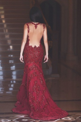Red Sexy Crystal Mermaid Evening Dress Vintage Spaghetti Strap Tulle Long Formal Occasion Dress_2