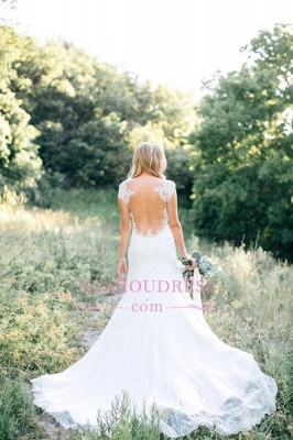 Lace Sheer Mermaid Backless Country Wedding Dresses_2