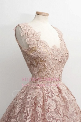 Lace  Short Sleeveless Simple A-Line Homecoming Dresses_1