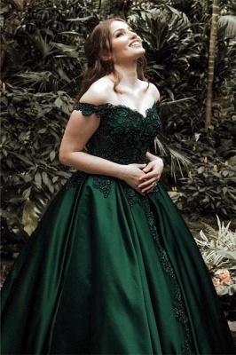 Dark Green Off the Shoulder Appliques Evening Dresses |  Ball Gown Formal Dresses_4