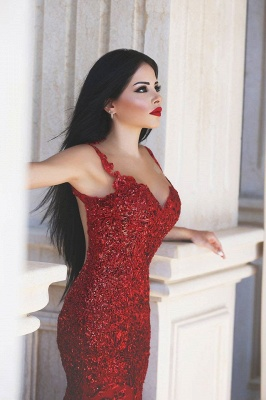 Red Sexy Crystal Mermaid Evening Dress Vintage Spaghetti Strap Tulle Long Formal Occasion Dress_3