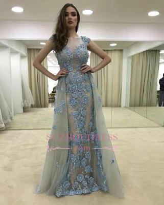 Glamorous Cap-Sleeve Ruffle Appliques Lace Mermaid Evening Dress_3