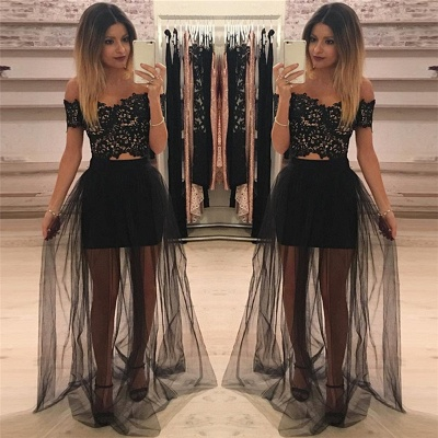 Off The Shoulder Two Piece Lace Formal Dress   Sheer Tulle  Ball Dress_3
