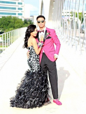 Sweetheart Black and White Mermaid Evening Dress Latest Custom Made Party Gowns AE0115_3