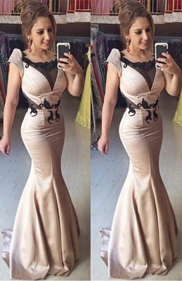 Sexy Mermaid Short Sleeve Evening Gown Lace Sweep Train Prom Dresses_1