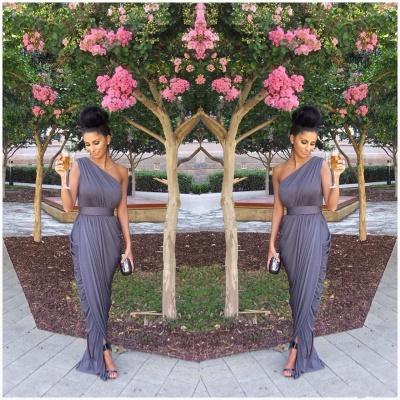 Chiffon One Shoulder  Long Bridesmaid Dresses Simple Ruffle Fashionable Plus Size Wedding Dress Under 100_2