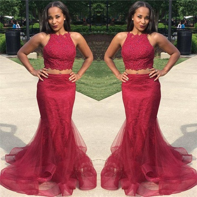 Two Piece Burgundy Lace Prom Dresses Sexy |  Sleeveless Puffy Tulle Evening Gown_3