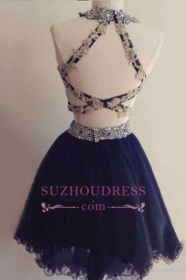 Navy Blue Beaded Short Two-Pieces Homecoming Dresses BA6928_1