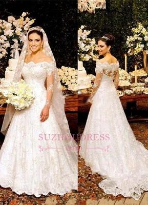 Button Zipper Lace Bride Dress Beautiful Long Sleeve Wedding Dress_2