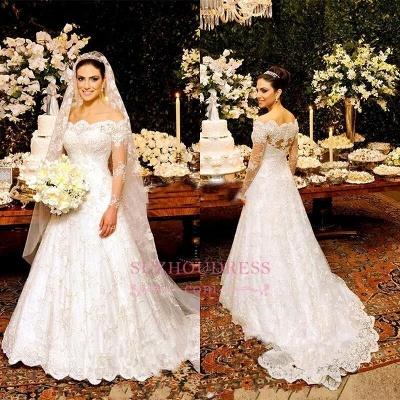 Button Zipper Lace Bride Dress Beautiful Long Sleeve Wedding Dress_1