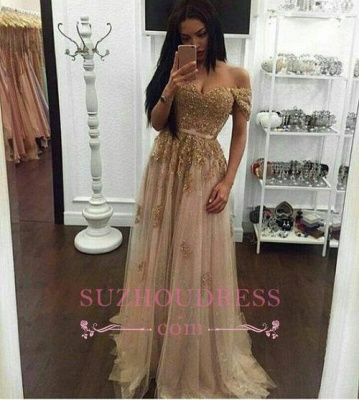 Appliques Long A-line Off-the-Shoulder Evening Dresses  Gold Sexy Prom Gown BA4856_3