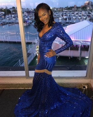 Sexy Deep-V-Neck Royal Blue Prom Dresses  Mermaid Long Sleeves Evening Gowns SK0105_3