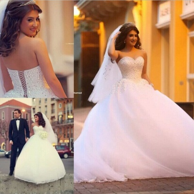 Pure White Sweetheart Princess Ball Gown Wedding Dress Tulle Beading Cute Popular Bridal Dress_2