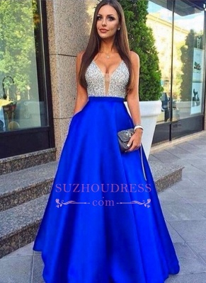 Sleeveless Beaded V-Neck Evening Gowns with Pockets Royal Blue  Silver Prom Dresses LY77_3