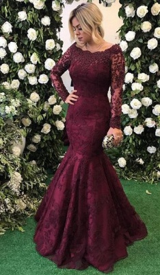 Long Sleeve Burgundy Prom Dresses  Mermaid Beads Lace Popular Evening Gown BA7388_1