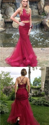 Two Piece Burgundy Lace Prom Dresses Sexy |  Sleeveless Puffy Tulle Evening Gown_4