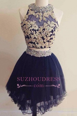Navy Blue Beaded Short Two-Pieces Homecoming Dresses BA6928_3