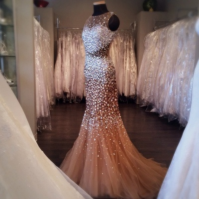Mermaid Sleeveless Crystal Tulle  Evening Dresses Sexy Stunning Glorious Gowns_2