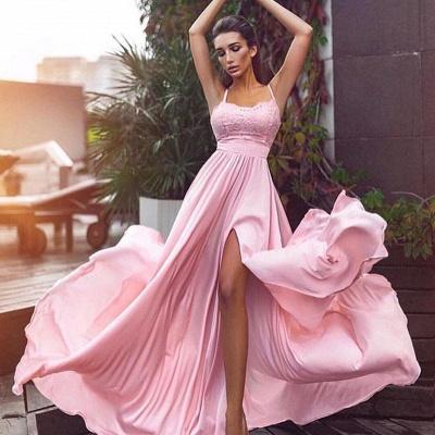 Spaghetti Straps Pink Formal Evening Dresses | Sexy Sleeveless   Ball Dresses AN0007_3