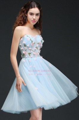 Flowers Short Lace-Up Embroidery Sweetheart Tulle Gorgeous Homecoming Dress_5