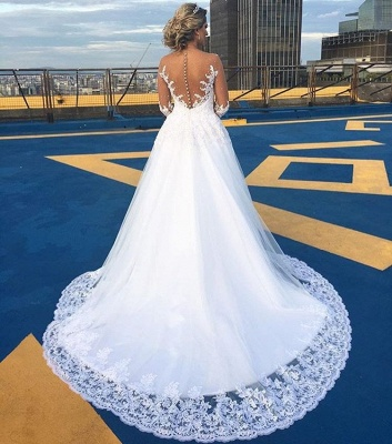 Gorgeous Lace Sweep Train  Bridal Gown Long Sleeve Tulle Wedding Dresses BA6360_3