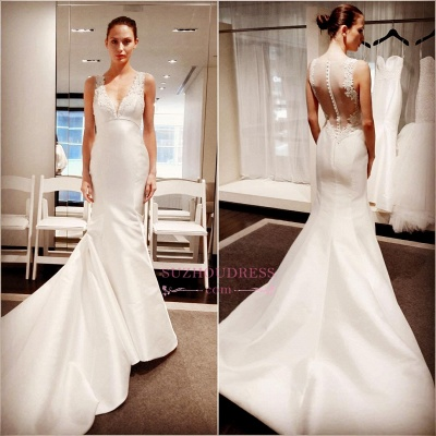 Classic V-Neck Lace Appliques Bridal Gowns  Sleeveless Mermaid Buttons Wedding Dress_3