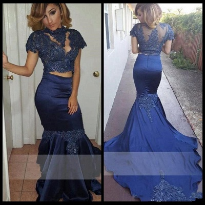 Dark Navy Mermaid Two Pieces Prom Dresses  Short Sleeves High Neck Evening Dresses SK0106_3