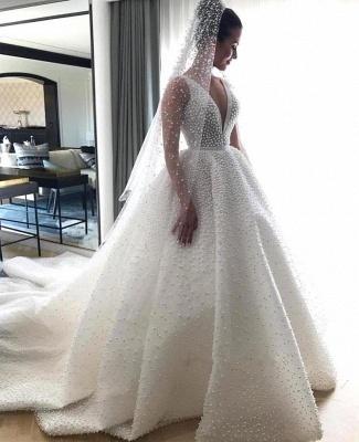 Gorgeous Ball Dresses Wedding Dresses V-Neck Sleeveless Beading Princess Bridal Gowns On Sale_3
