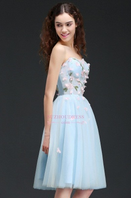 Flowers Short Lace-Up Embroidery Sweetheart Tulle Gorgeous Homecoming Dress_4