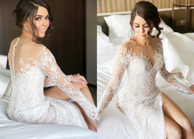 New Full Lace Split Wedding Dresses Illusion Back Bridal Gowns with Detachable Satin Skirt_3
