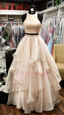 Chic Baby Pink Two Pieces Evening Dresses | Jewel A-Line Sleeveless Tiered Prom Dresses_1