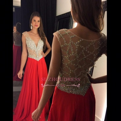 Beading Chiffon Tulle Sequins Sheer New-Arrival Amazing V-neck Prom Dress_1
