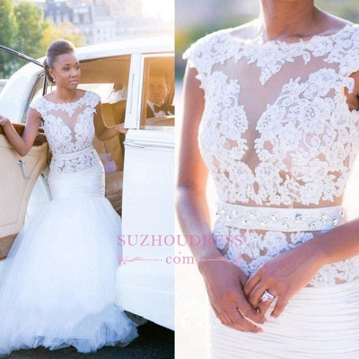 Mermaid Cap Sleeves lace Appliques Wedding Gowns  Tulle Open Back Wedding Dress Outdoor_1