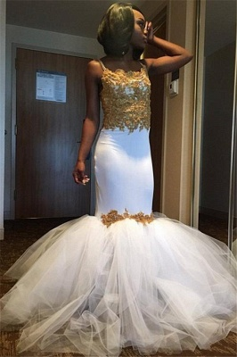 Gold Lace Appliques Prom Dresses  | Sheath Puffy Tulle Straps Evening Dress Sexy_1