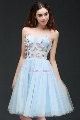 Flowers Short Lace-Up Embroidery Sweetheart Tulle Gorgeous Homecoming Dress_6