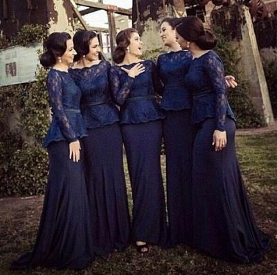 Blue Long Sleeve Charming Bridesmaid Dress Bateau Sweep Train Elegant Mother Dress_2